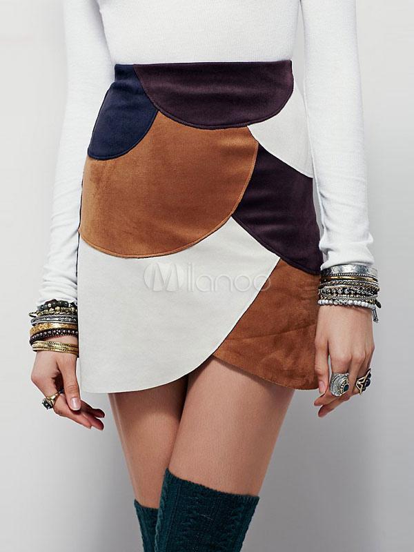 seleccione para el último códigos de cupón valor fabuloso Mini faldas mujeres Color bloque elegantes faldas cortas