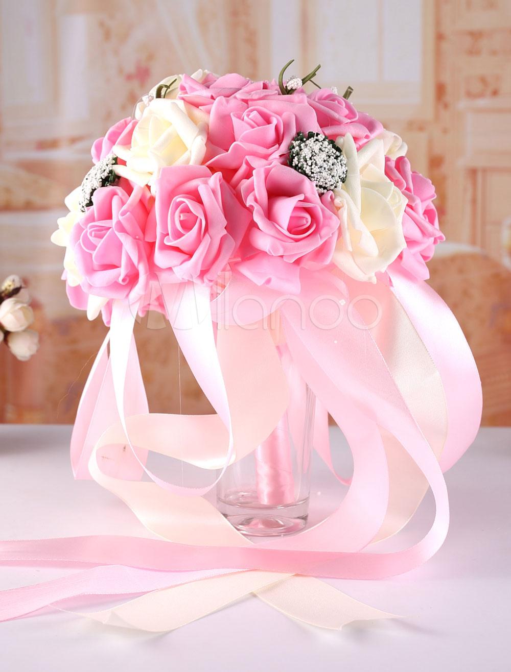 Pink Wedding Bouquet Rose Satin Bridal Wedding Flower( 26 Cm X 20 Cm)