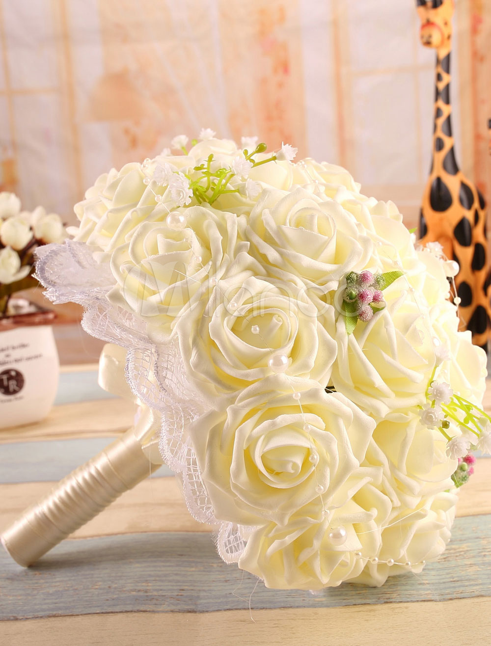 Pearl Wedding Bouquet Ecru White Rose Satin Flower ( 24 Cm X 24 Cm)