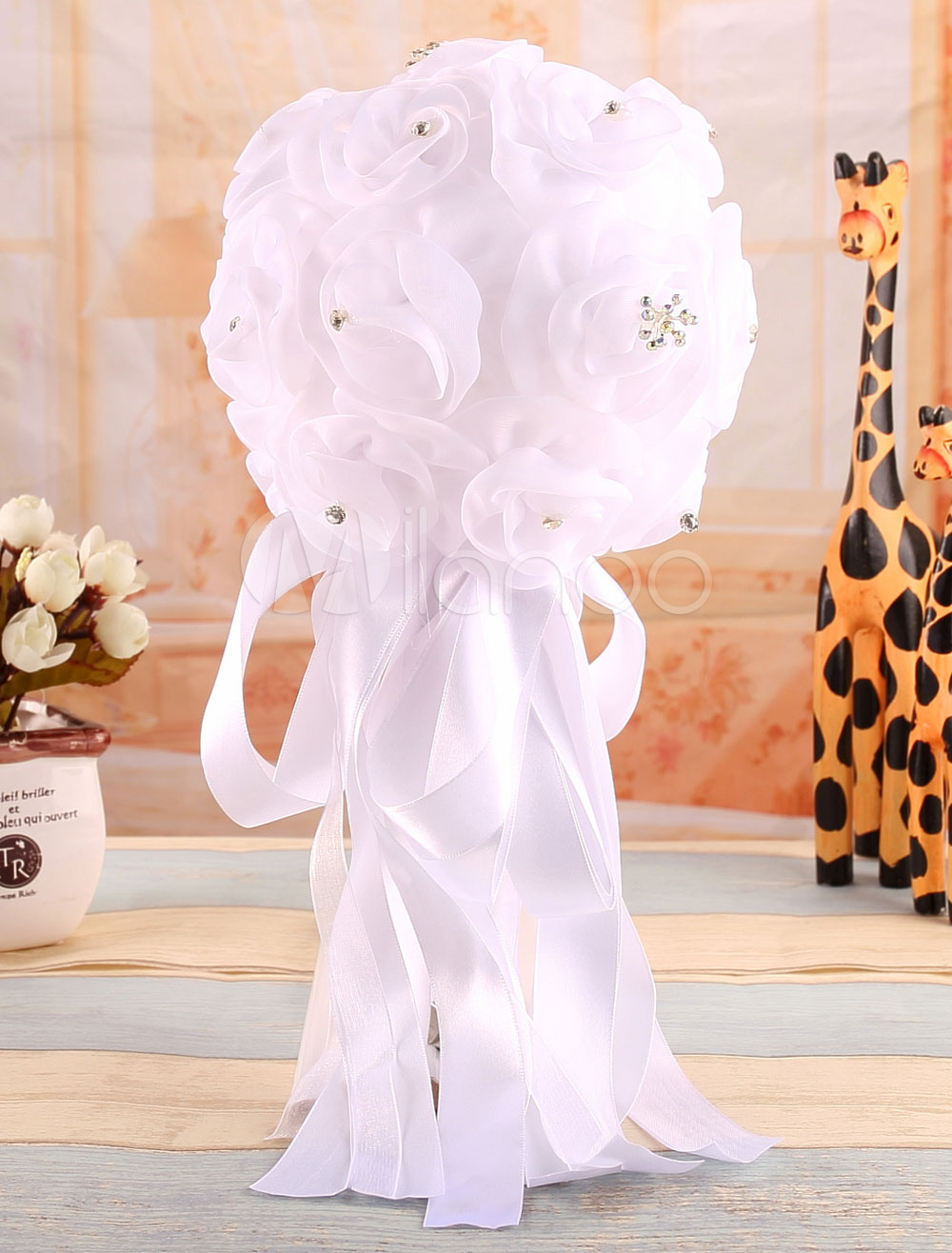 White Wedding Bouquet Bridal Rose Satin Bowknot Flower( 29 Cm X 16 Cm)