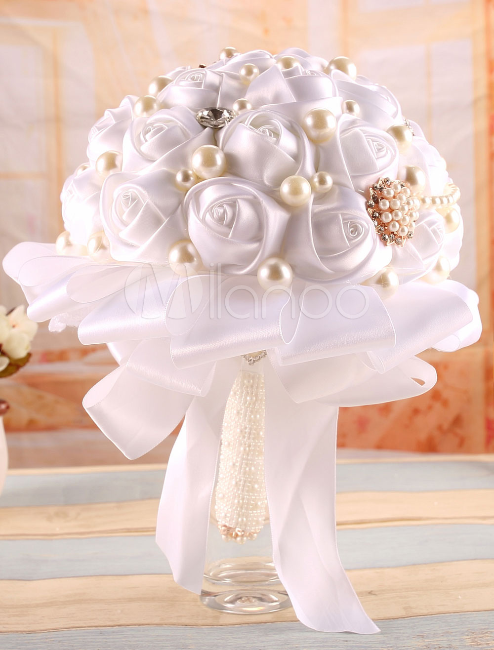 Rhinestone Wedding Flower Pearl Studded White Satin Bouquet ( 25 Cm X 18 Cm)