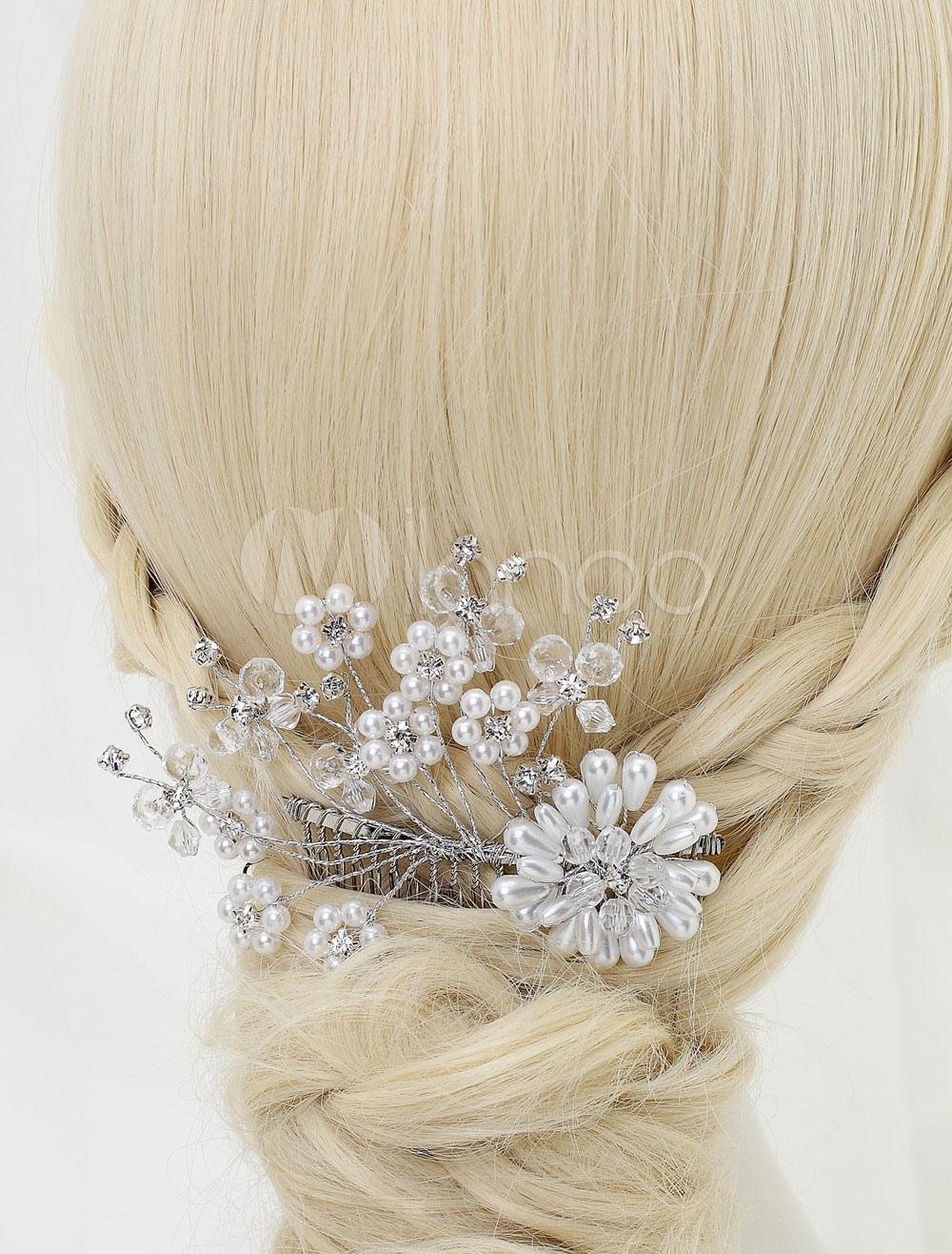 Buy Bridal Pearl Headpiece Comb Wedding Tiara Rhinestone Hair Pin  (11 Cm X 9.2 Cm X 1 Cm ) for $9.99 in Milanoo store