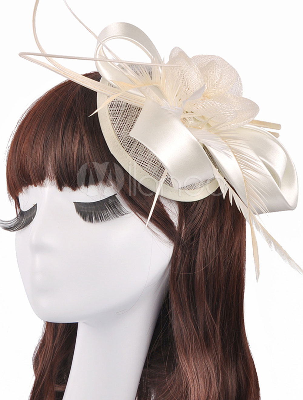 Buy Vintage Wedding Hats Satin Tulle Evening Hats With Feather for $22.99 in Milanoo store
