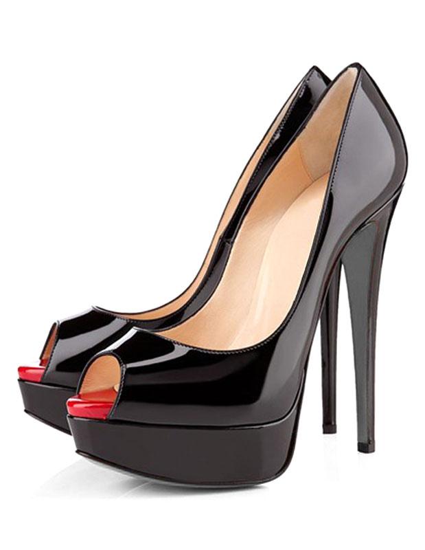 08404b3cbca596 Escarpins 2019 Chaussures sublimes à talons aigus à bout ouvert en PU verni  mocassin -No ...