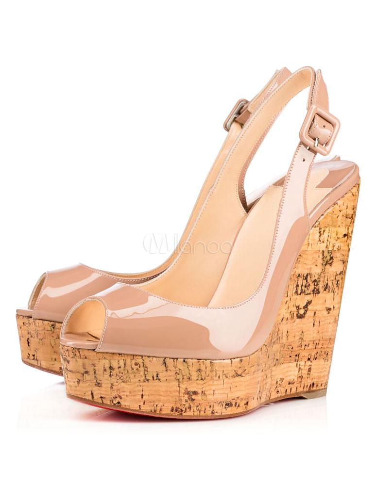 Buy Women Wedge Sandals Nude Platform Heels Peep Toe Slingbacks Sandal Shoes for $57.59 in Milanoo store