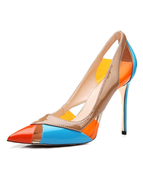 Buy Pointy Toe Heels Color Block High Heels for $70.19 in Milanoo store