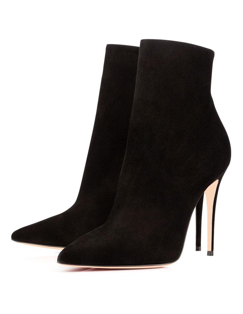 High Heel Booties Women Ankle Boots Pointed Toe Zip Up Booties