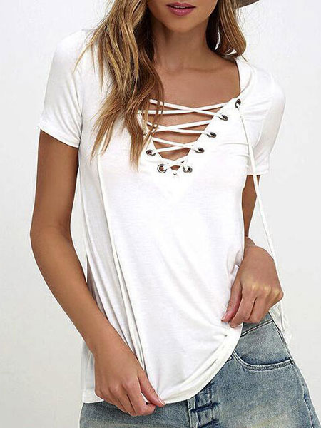 Women White T Shirt 2018 Lace Up Short Sleeve V Neck Summer Casual Top