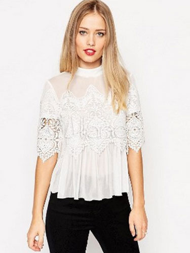 White/black Lace Blouse Ruffled Half Sleeves Chiffon Top Cheap clothes, free shipping worldwide