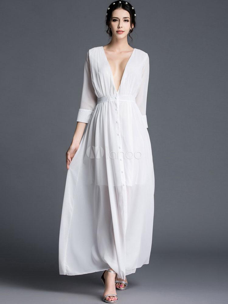 competitive price 659a2 fb6d3 Vestito bianco Maxi abito con scollatura Chiffon semi-velato Sexy estate  lungo