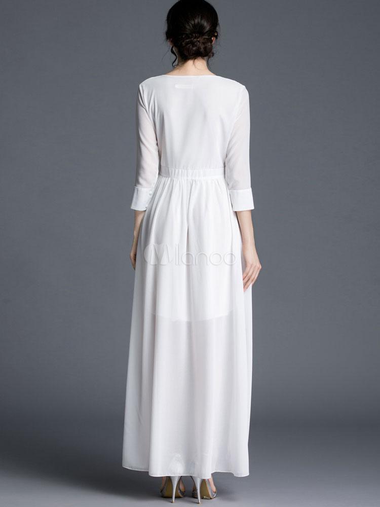 47c4888270d0 Vestito bianco Maxi abito con scollatura Chiffon semi-velato Sexy estate  lungo-No.