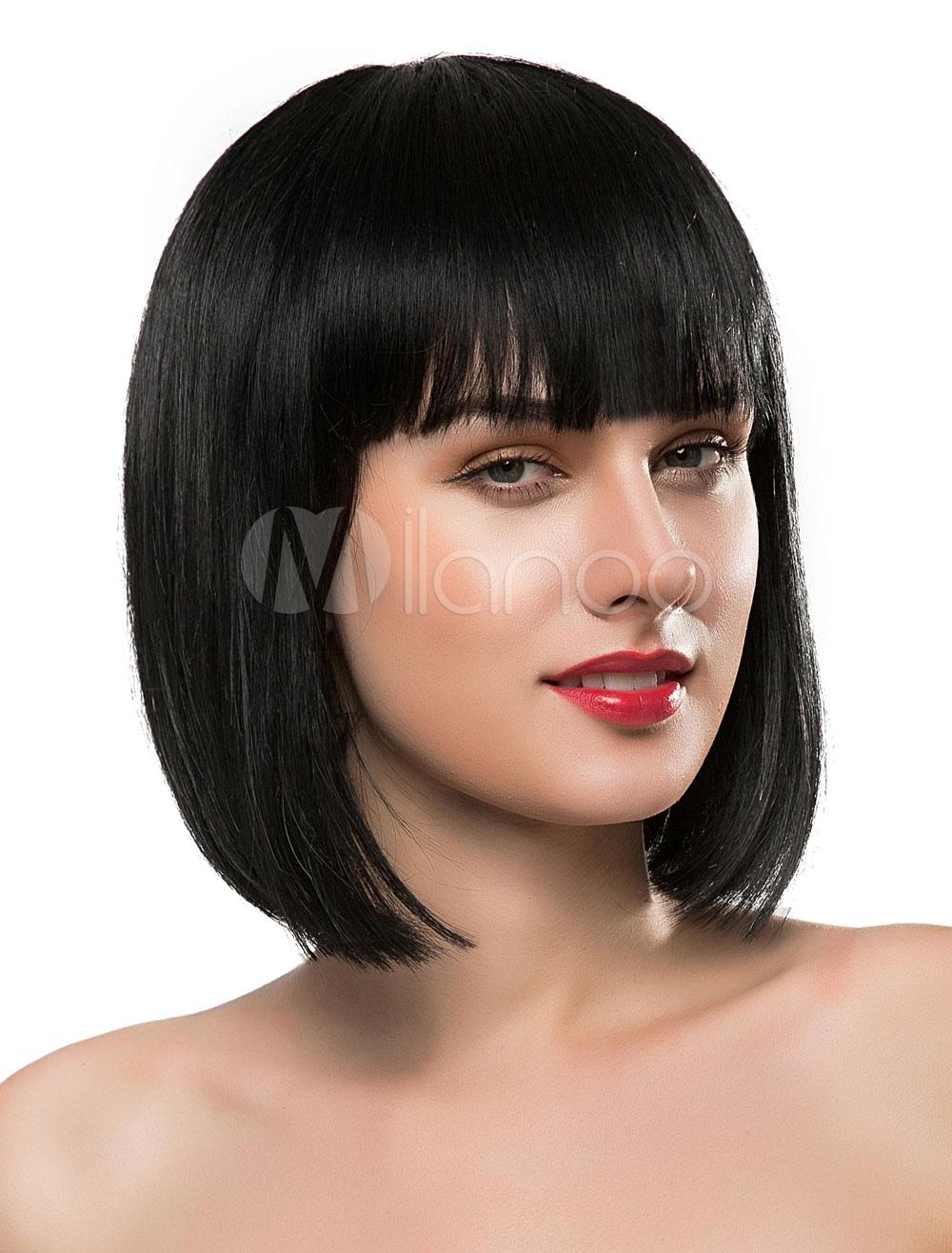 Short Wigs Black Blunt Fringe Straight Bobs