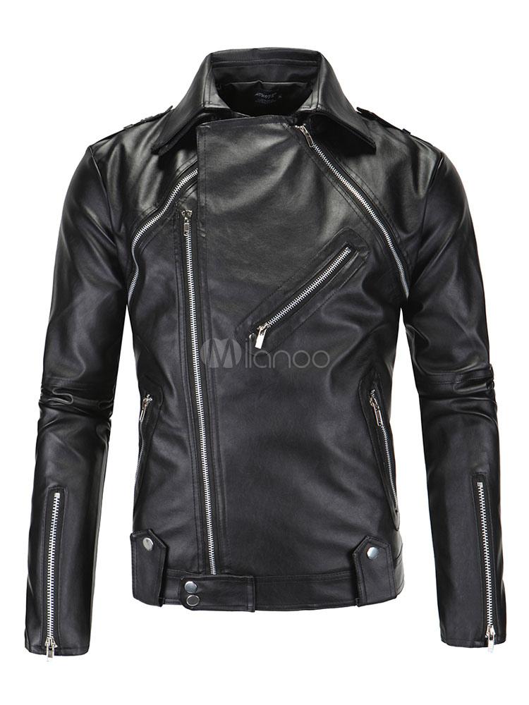 Black Leather Jacket Zipper Metallic Surplice Men Biker Jacket
