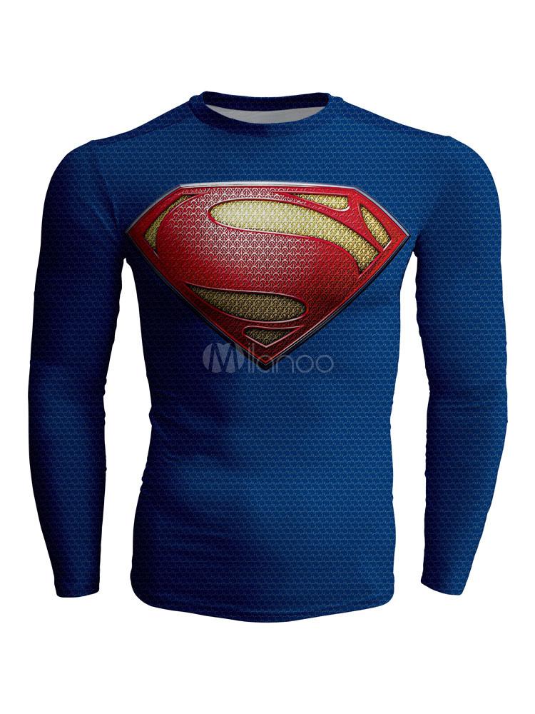Blue Men T Shirt Super Man Print Long Sleeve T Shirt