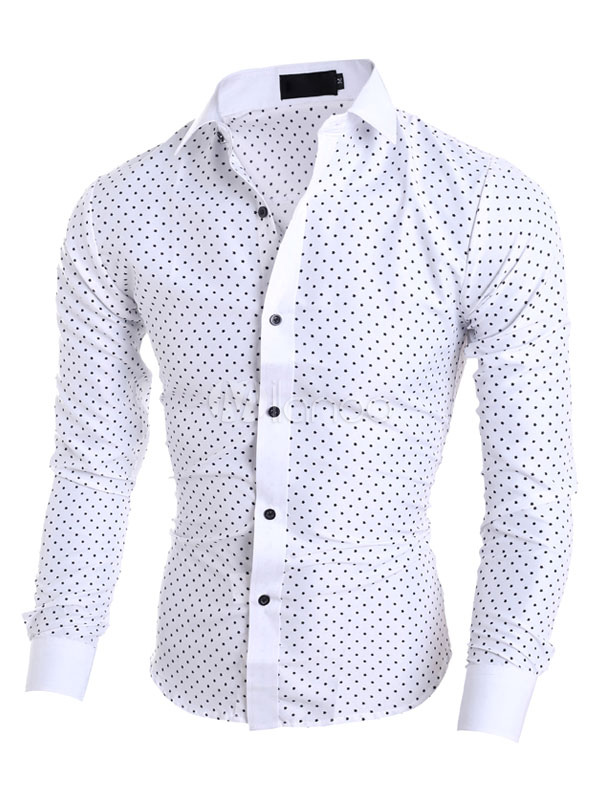 Men Casual Shirt Turndown Collar Long Sleeve Polka Dot Cotton Shirt White