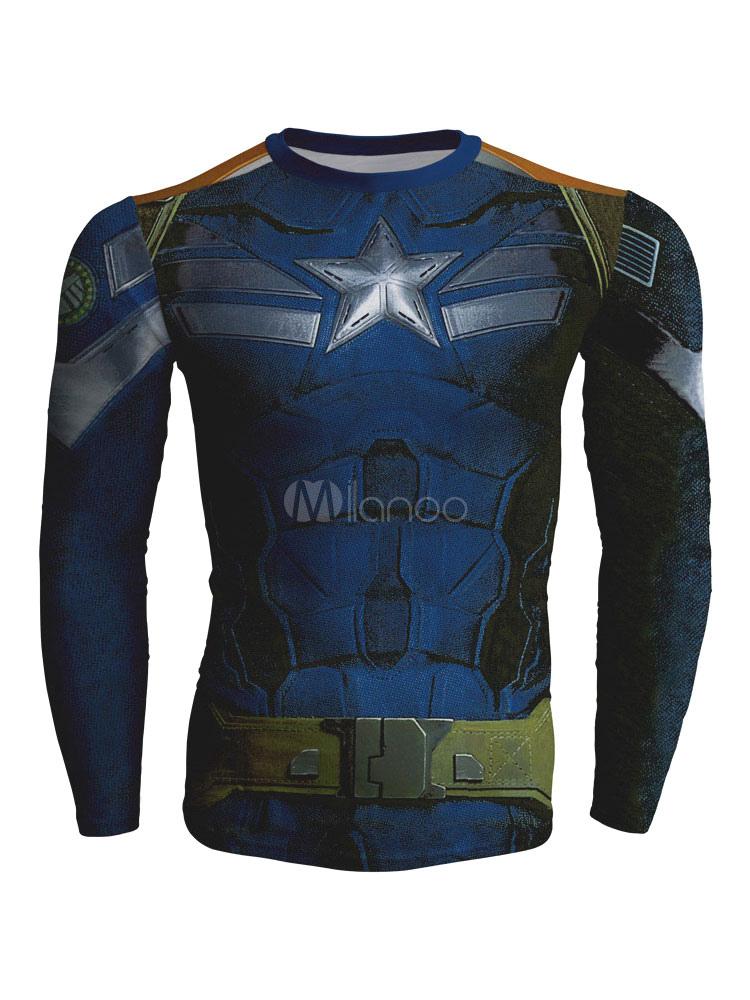 Blue Men T Shirt Captain American Print Long Sleeve T Shirt