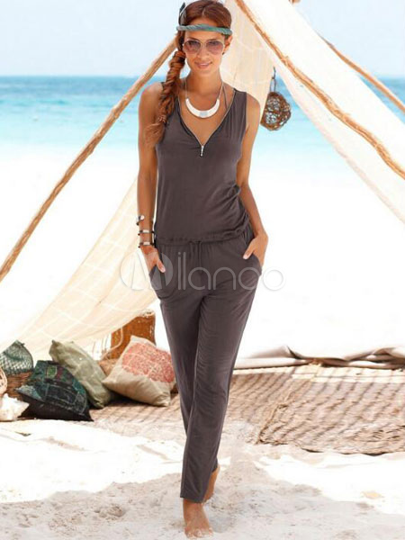 Tie Waist Jumpsuit In V-neck Sleeveless For Women Cheap clothes, free shipping worldwide