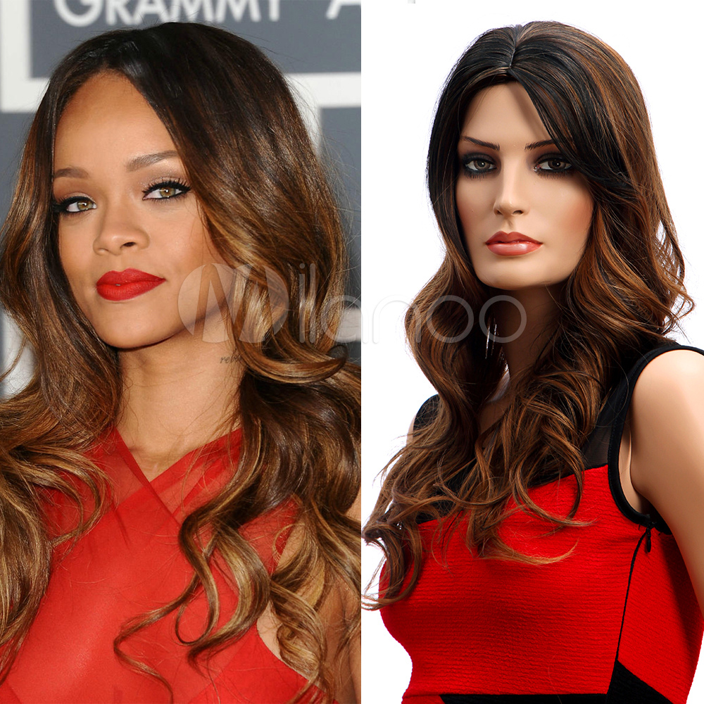 Centre Parting Layered Long Curly Wigs