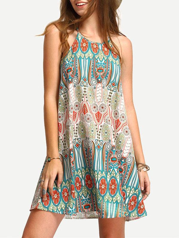 Boho Printed Sundress Mini Summer Shift Dress