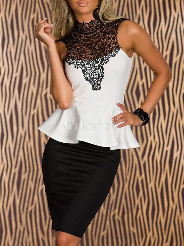 Buy Black/White Two Tone Lace Bodycon Dress Fake Two Piece Style for $35.99 in Milanoo store