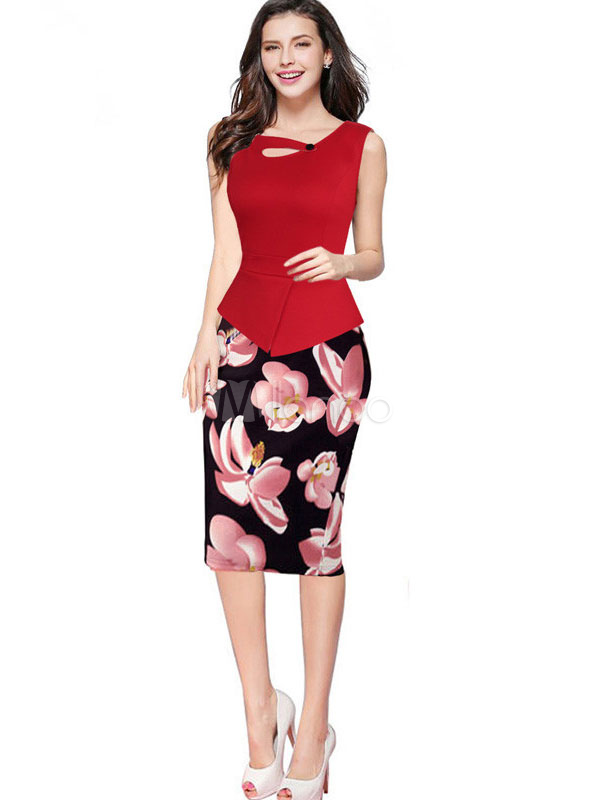 Buy Sleeveless Bodycon Dress Floral Print Summer Pencil Dress for $25.49 in Milanoo store