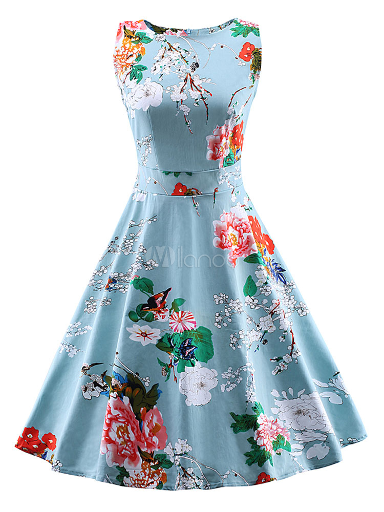 Buy Blue Vintage Dress Floral Print Summer Party Dress for $26.99 in Milanoo store