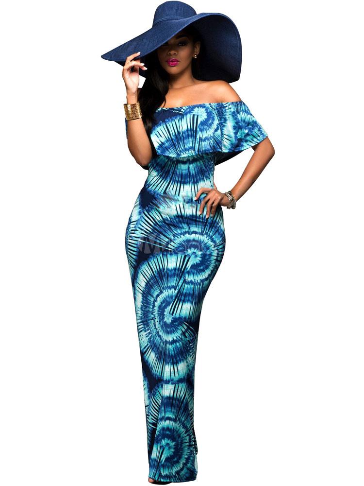 Blue Maxi Dress Off The Shoulder Ruffles Boho Style Long Dress