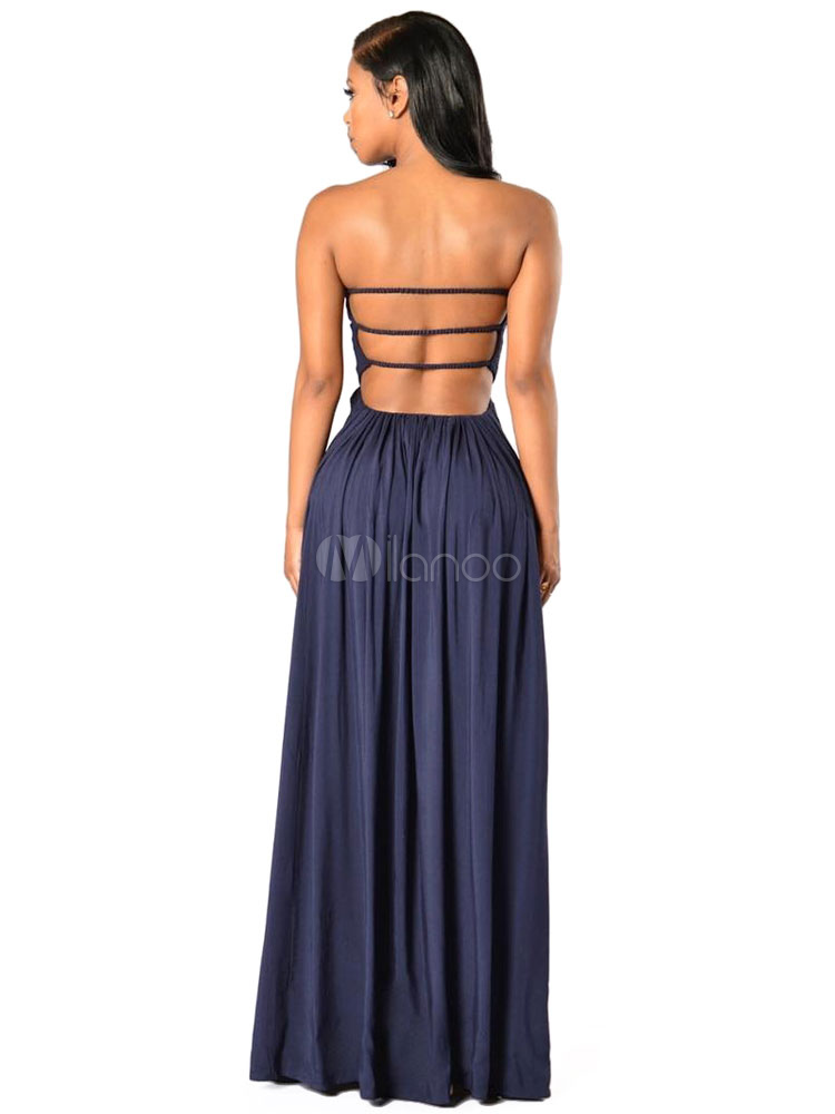 marine maxi robe bustier sexy d coupe robe longue d t. Black Bedroom Furniture Sets. Home Design Ideas