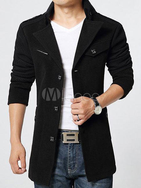 Black Men's Coat Long Sleeve Button Up Jacket