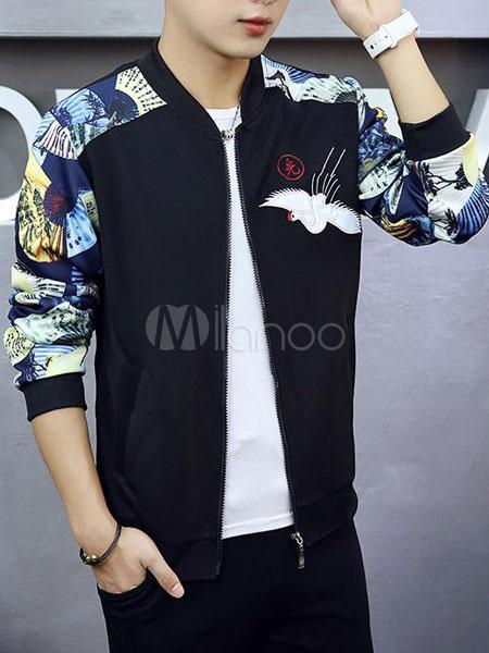 Men Bomber Jacket Embroidery Color Block Slim Fit Spring Jacket