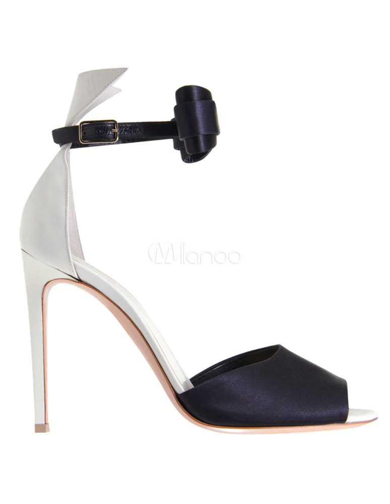 Milanoo / High Heel Sandals Ankle Strap Buckle Women's Peep Toe Faux Leather Stiletto Heels