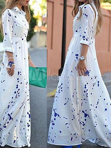 robe maxi blanche manches longues imprim robe longue d. Black Bedroom Furniture Sets. Home Design Ideas