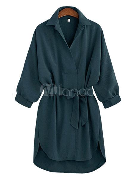 Summer Mini Shirt Dress Oversized Lace Up Blouse High Low