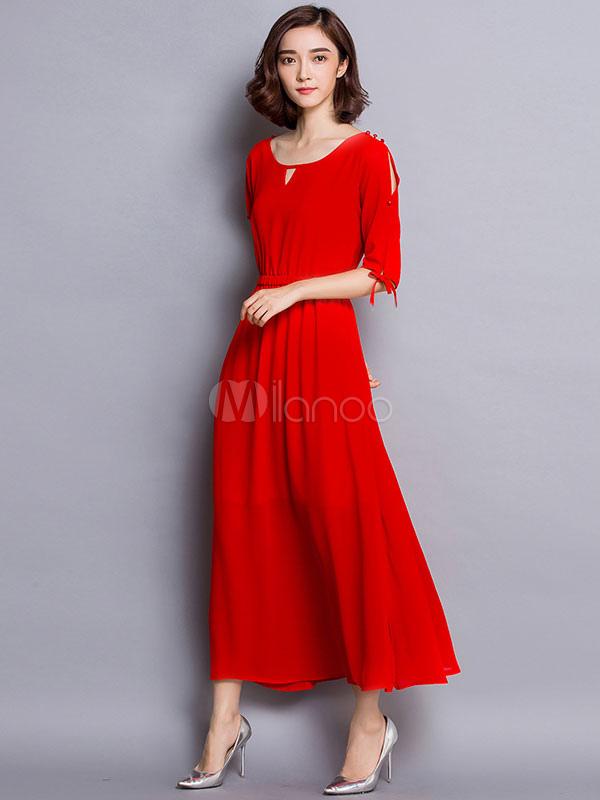 Black/Red Maxi Dress Half Sleeves Chiffon Long Dress
