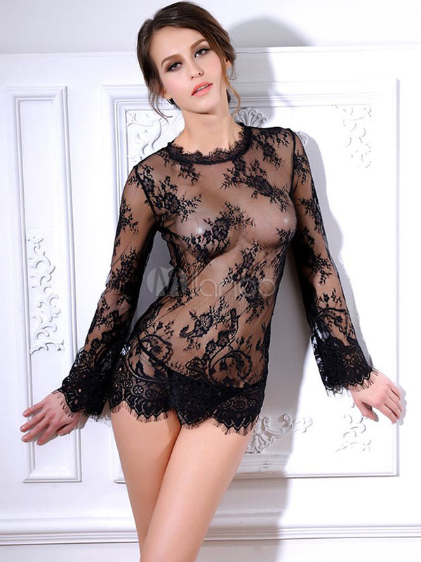 Sexy Black Sheer Chemise Blace Lace Nightdress Cheap clothes, free shipping worldwide