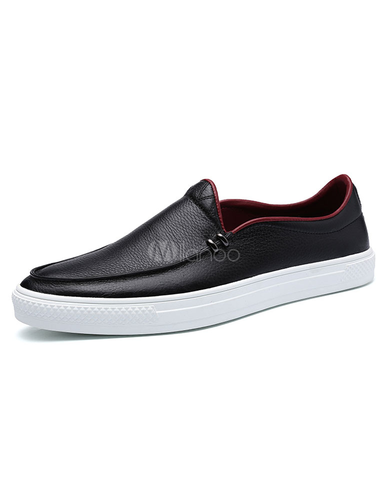 Black Men's Loafers Stitching Slip-on Leather Casual Shoes Round Toe Flat Shoes