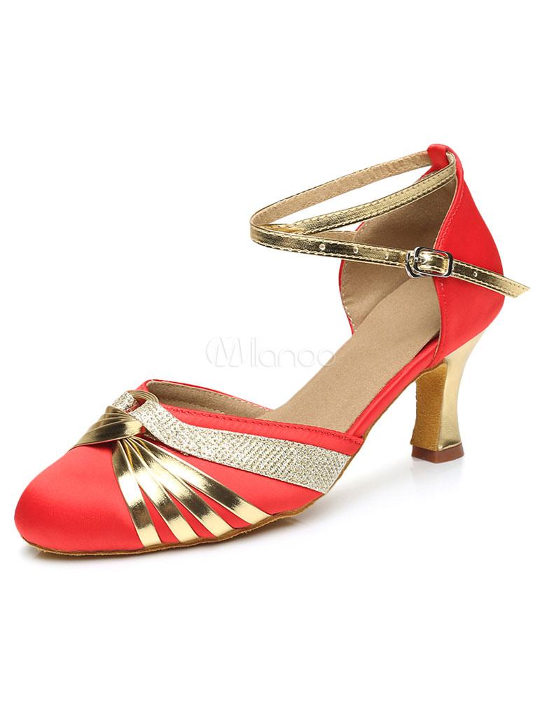 Resbalón baile rojo zapatos mujer en el tobillo alrededor del dedo del pie salones de tacón alto ovTQF5wgT5