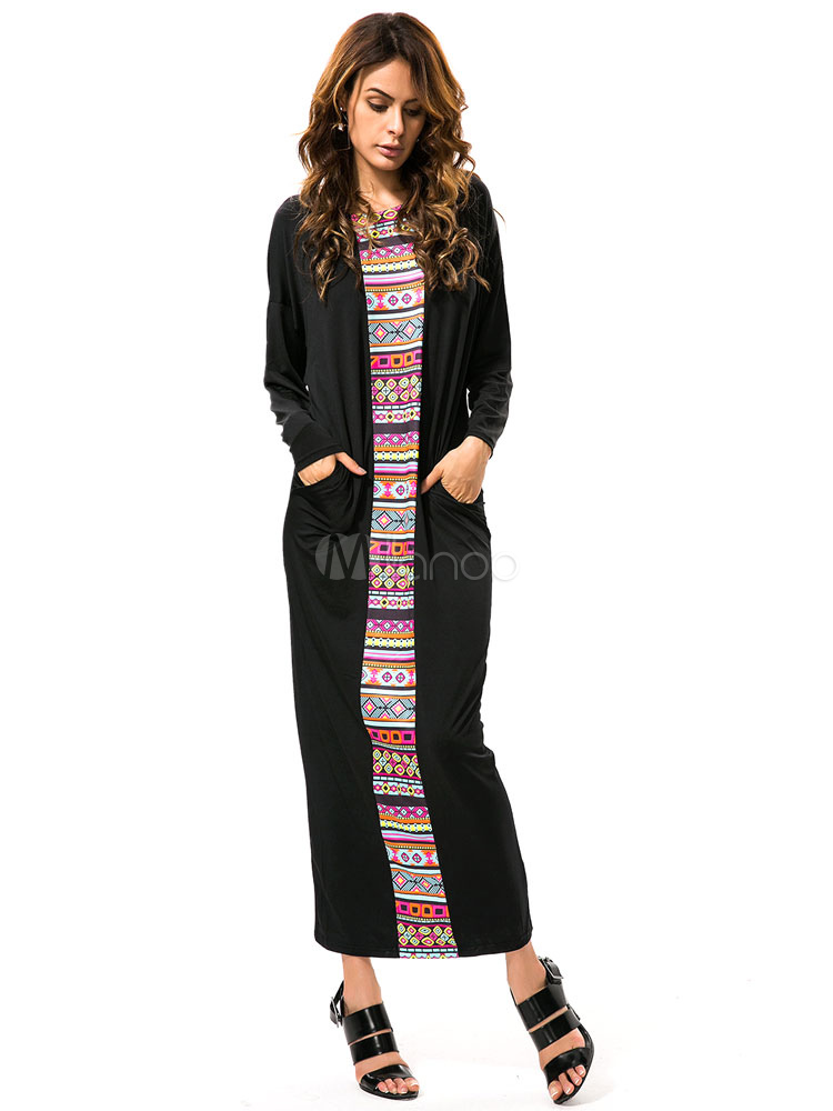 Buy Plus Size Boho Dress Long Sleeve Tribal Print Shift Dress for $12.00 in Milanoo store