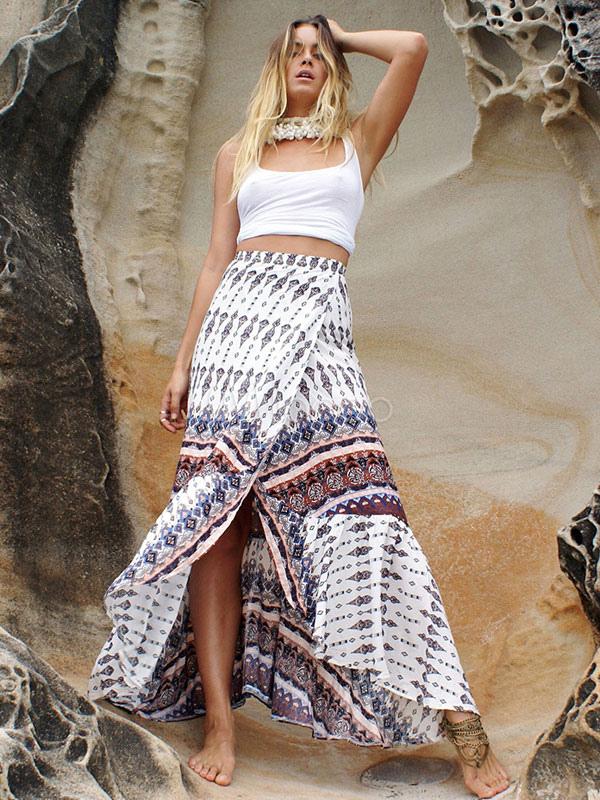 Bohemian Maxi Skirt High Waist Split Front Long Skirt
