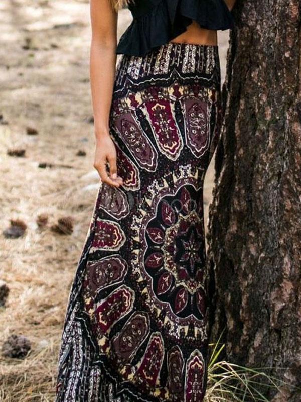 Black Tribal Print Boho Maxi Skirt Cheap clothes, free shipping worldwide