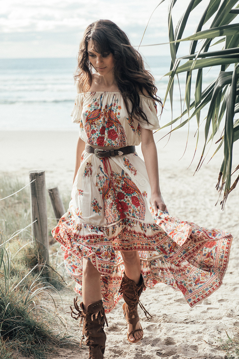 Boho Dress Off The Shoulder Printed Summer Dress Cheap clothes, free shipping worldwide
