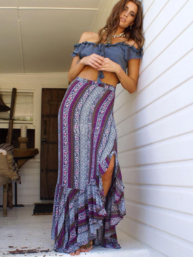 Buy Deep Purple Boho Pattern Summer Ruffled Mullet Skirt for $16.19 in Milanoo store