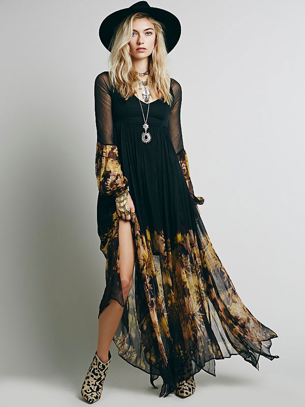 17ab92e2ab8 Black Boho Dress Long Sleeve Rayon Maxi Dress - Milanoo.com