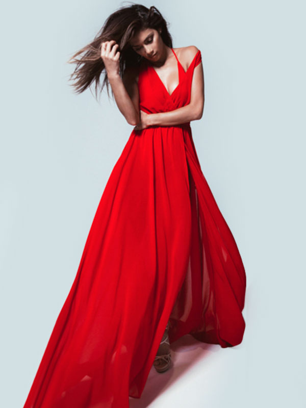 Sexy Maxi Dress V Neck High Split Chiffon Long Dress