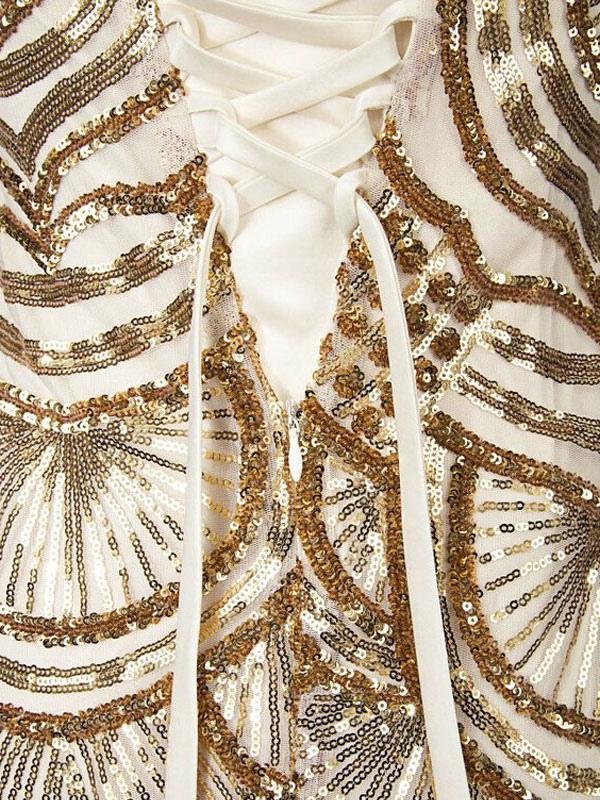 eb61e8418 ... Vintage vestidos de baile de oro cequi Strapless años 20 Flapper  vestido Maxi vestido de noche ...