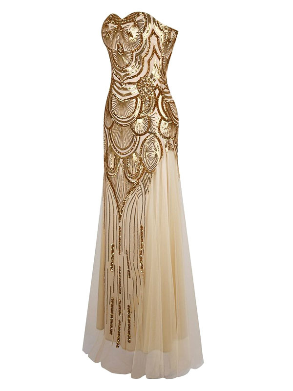 Vintage Prom Dresses Gold Sequin Strapless 1920s Flapper Dress Maxi ...