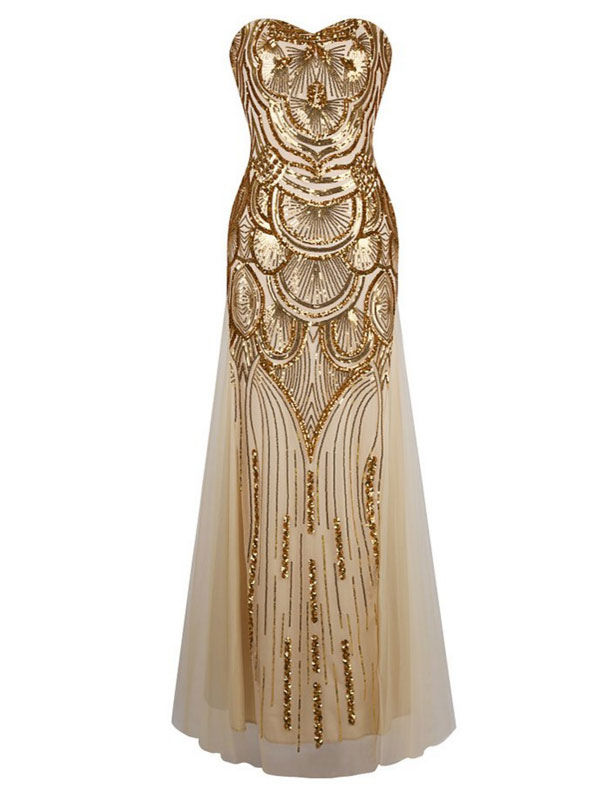Vintage Prom Dresses Gold Sequin