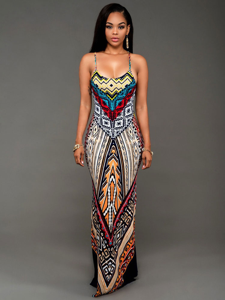 Thigh Split Maxi Dress Straps Backless Floral Summer Dress