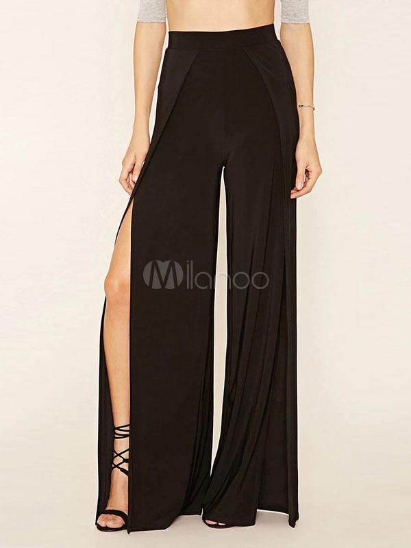 38ec42093 Calças de perna larga preta calça Flare do Chiffon de feminina cintura alta  Split-No ...