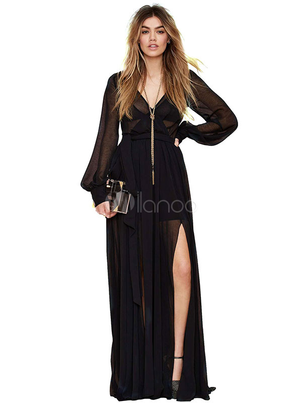 b2e279fe6ef Black Maxi Dress Women s V-neck Long Sleeve Sheer Split Dresses Sash ...